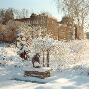 Vinterbild - Stadshuset från Stadshusparken i Flen.
