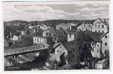 Historiskt foto - svart vitt, ca 40 tal Järnvägsbron