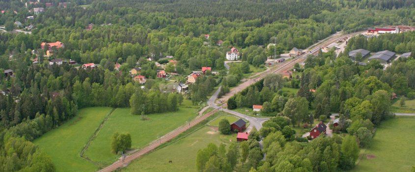 Flygbild Hälleforsnäs - norra infarten