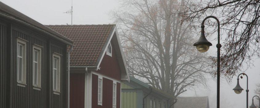 Gatubelysning och hustak i dimmig höstmiljö