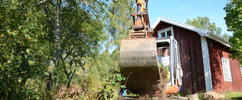 Grävarbete med grävmaskin i trädgård, ett rött hus med vita knutar i bakgrunden