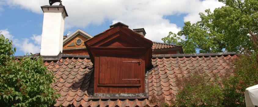 Takkupa på hustak och en skorsten