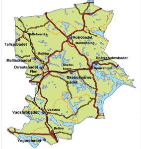 Badkarta för Flens kommun