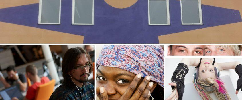 Bild föreställer ett collage med framsidan på huset Skjortan, en man med koncentrerat uttryck och flera andra människor i bakgrunden - studiemiljö, en kvinna med sjal, två ögonpar och en ung tjej med dreadlocks och hörlurar