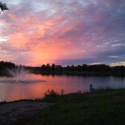 Fontän i Orrhammaren - solnedgång