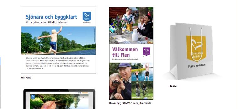 Urklipp från Flens kommuns grafiska profil - platsmarknadsföring