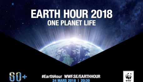 Affisch Världsnaturfonden för Earth hour 2018 24 mars kl 20.30