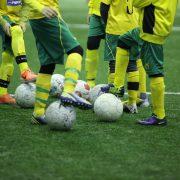 Gräsplan med fotbollsspelare, fotbollar