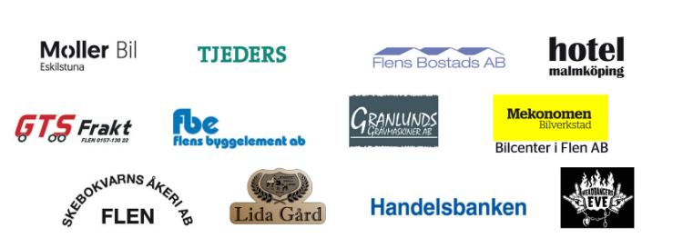 Logotyper från företag som stödjer Fest i Flen 2018
