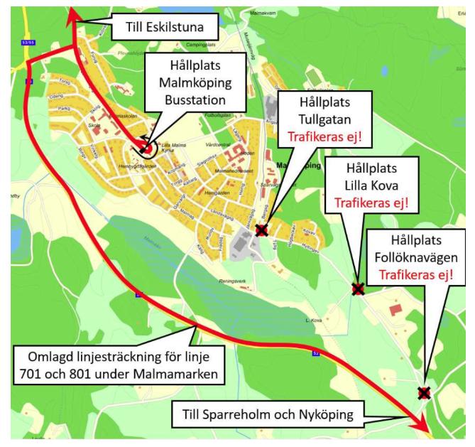 Karta över busshållplatser i Malmköping