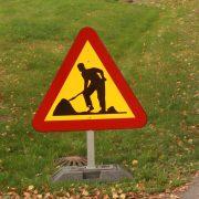 Varningsskylt vägarbete