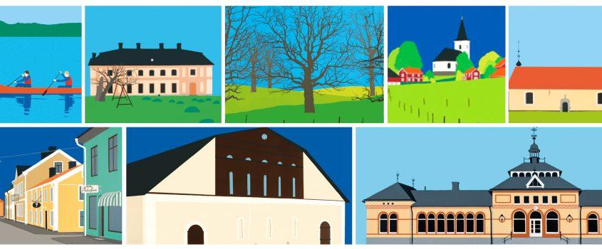 Kollage av ortsbilder av konstnärerna Inger Linnea Carlsson och Christina Lindblom