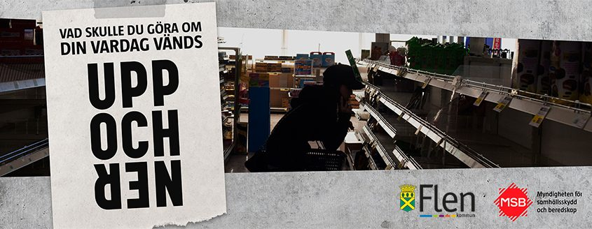Kvinna i utrensad matbutik letar efter livsmedel. Text: Vad skulle du göra om din vardag vänds upp och ned?