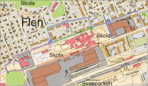 Kartbild över förslagen bilväg vid skola i Flens tätort