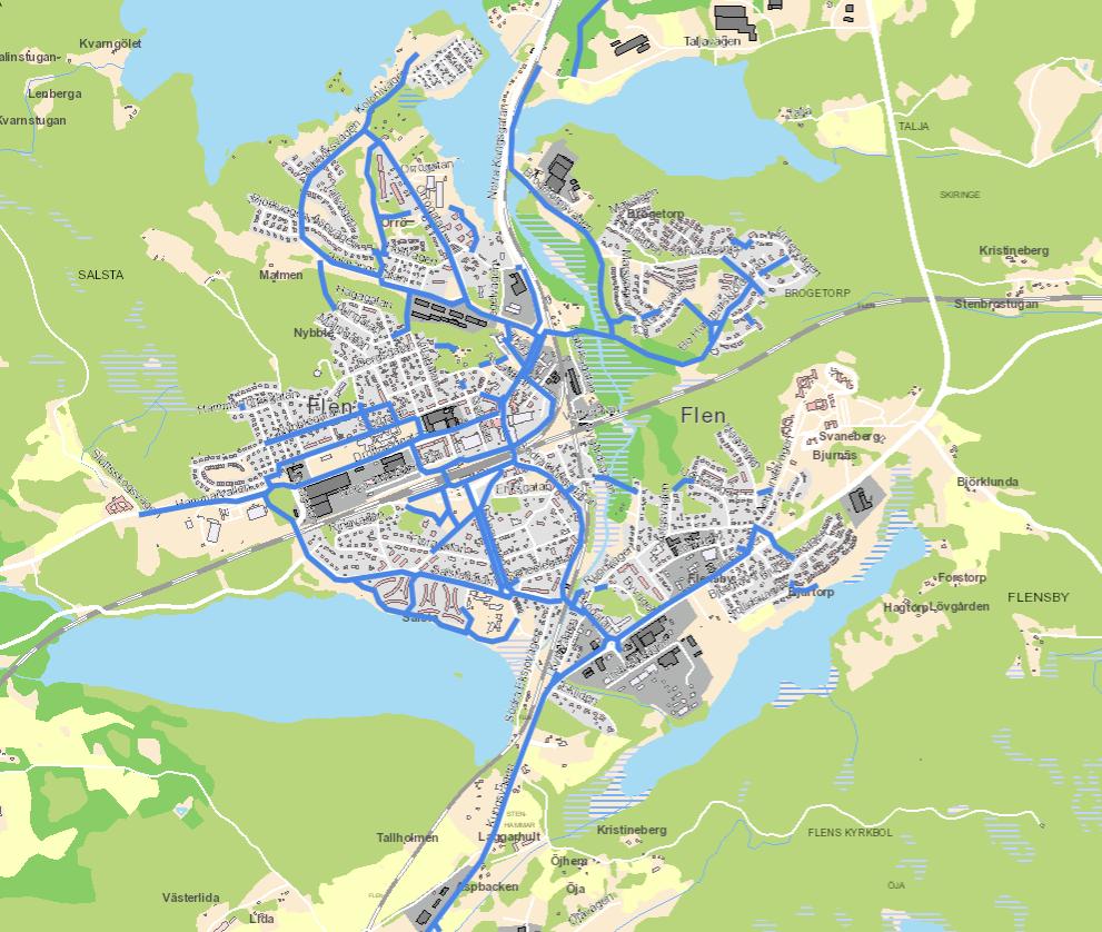 Kartbild över cykel- och gångvägar i Flens tätort