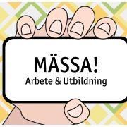 Tecknad hand med skylt med text: Mässa! Arbete och utbildning