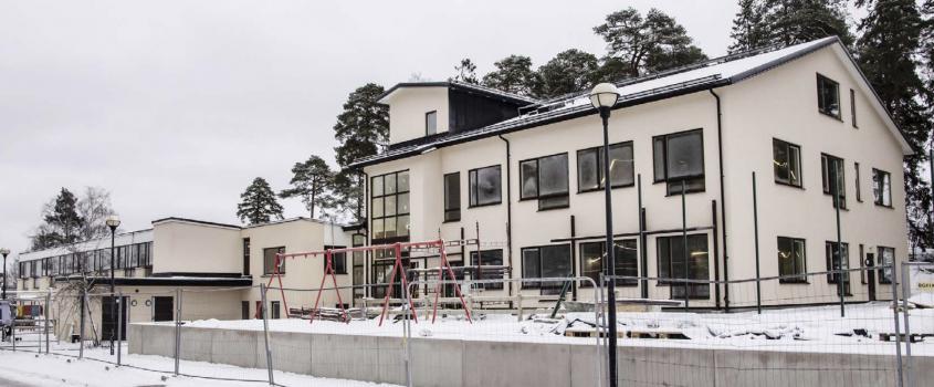 Den nya förskolan Kungsfågeln på Bergsgatan i Flen under ombyggnad