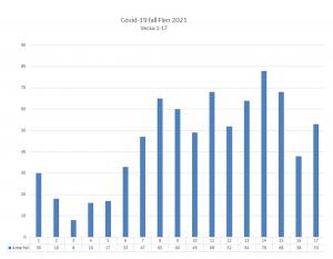 Diagram över antal smittade av covid-19 i Flens kommun. Vecka 17 var det 53 konstaterade fall.
