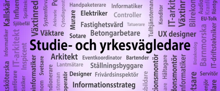 Bild innehållandes beskrivande ord med texten Studie- och yrkesvägledare centrerat mot en lila bakgrund.