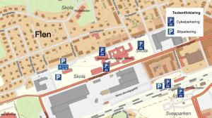 Karta över parkeringar vid Storgatan, Flen