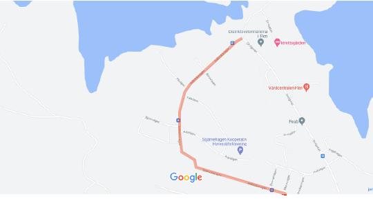 Bild på karta från Google Maps där Solbacksvägen i Flen är markerad.