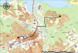 Karta Vandrande skolbuss Brogetorp