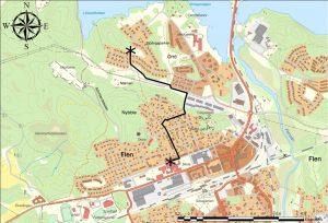 Karta Vandrande skolbuss Orrö